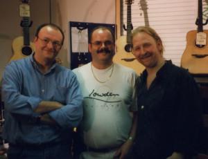 Jacques Stotzem, Iain Wilson (Lowden Gtrs) & Eric Roche Nov 99